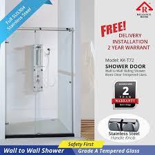 kk t72 wall to wall frameless shower