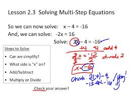 3 lesson 2 3 solving multi step equations