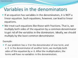 variables in the denominators