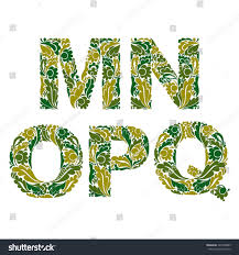 Beautiful floral font, decorative letters with vintage pattern. M, N, O,