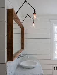 above mirror lighting bathrooms. Ship Lap, Handsome Wood Mirror, And Swing Arm Lamps. Above Mirror Lighting Bathrooms