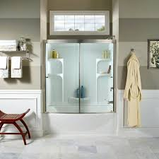 ovation curved 3 piece bathtub wall set standard delta tub classic 400 installation shower doors