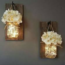 ideas wall sconces decorating wall sconces lighting. HANGING MASON JAR SCONCESwith Lights LOVE This Idea Ideas Wall Sconces Decorating Lighting R