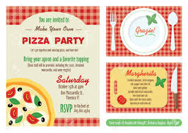 Design Own Party Invitations Vector Make Your Own Pizza Party Invitation Set Recipe Card