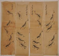 elaborate antique chinese artificial painting shrimp by qi baishi