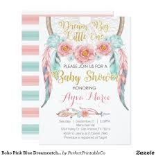 Dream Catcher Baby Shower Invitations Boho Pink Blue Dreamcatcher Baby Shower Invitation Kate Baby 24