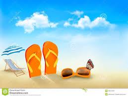 Flip Flop Chair Flip Flops Sunglasses Beach Chair And A Butterfl Stock Vector