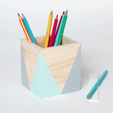 Geometric Wooden Pen Pot