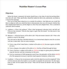 sample lesson plan outline madeline hunter lesson plan template template business