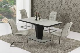 Lovely Small Extending Grey Stone Effect Glass Dining Table And 4 Chairs Set ...