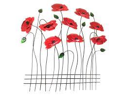 on poppy wall art uk with metal wall art poppy flower scene