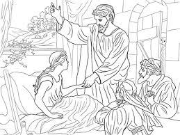 Jezus Werkt Dochter Jaïrus Op Kleurplaat Gratis Kleurplaten Printen