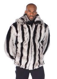 mens fur rex chinchillette jacket detachable hood
