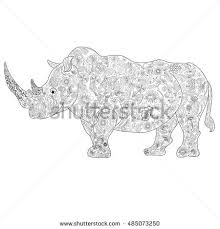 a rhino coloring book for s vector