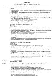 Investment Professional Resume Samples Velvet Jobs