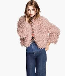 h m faux fur jacket in blue lyst