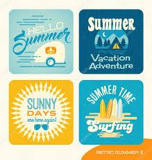 夏の休暇のレトロ デザイン カードバナー広告t シャツの ストック