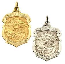 white gold st michael shield medal 813627