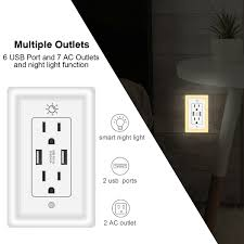 Outlet Night Light Details About Tamper Resistant Duplex Receptacle Usb Ac Outlet Socket Night Light Wall Panel