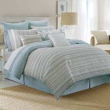 contemporary coastal queen size bedding sets with decorative pillowcase and light blue cotton bedskirt bedroom