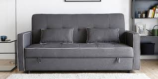 porto three seater sofa bed with storage in dark grey colour by casacraft