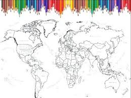 World Map Coloring Page Printable Scrapbook Size Inches Detailed