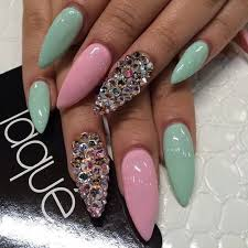 Mint Green And Pink Stiletto Nails With Gems Nails Fingernägel