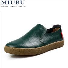 <b>MIUBU</b> Pop <b>Mens Genuine Leather</b> Flats Black Driving Moccasins ...