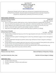 Student Respiratory Therapist Resume Samples