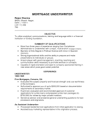 Endearing Insurance Underwriter Resume With Pc Of Sample Position