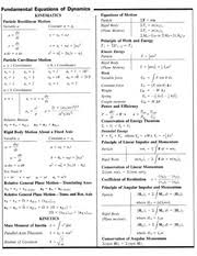 fluid dynamics equation sheet. 1 pages equation sheet-mid term fluid dynamics sheet b