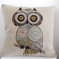 Owl Home Decor Accessories Fascinating Shop Vintage Home Decor Cotton Linen Throw Pillow Cover Owl Blue