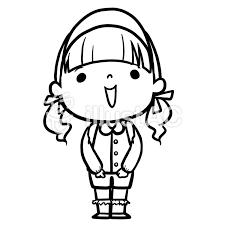 園児女の子線画塗絵イラスト No 1126860無料イラストならイラストac
