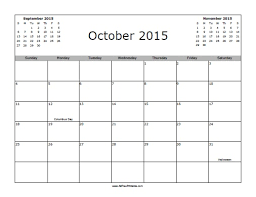 October 2015 Calendar With Holidays Free Printable
