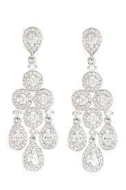 image of nadri framed round pear chandelier earrings