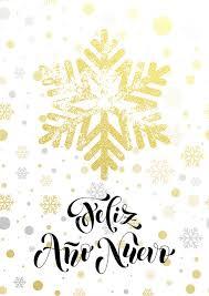 Spanish Happy New Year text Feliz Ano Nuevo of <b>golden snowflake</b> ...