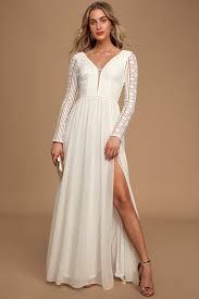 Ivory Bridal Gown - Lace Maxi Dress - Long Sleeve Maxi Dress - Lulus