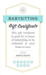 babysitting certificates babysitter date night printable babysitting gift