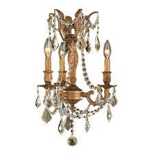 worldwide lighting windsor collection 3 light french gold and golden teak crystal chandelier
