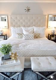 white pottery barn lorraine tufted tall headboard bed and diamond quilt with hadley ruched duvet