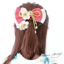 髪飾り 2点セット 白 ホワイト ピンク リボン 梅 花 つまみ細工 縮緬