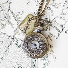 drink me we re all mad here pocket watch necklace