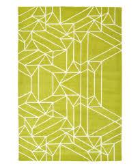 lime green geometric origami wool rug
