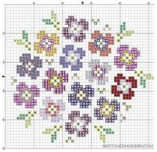 Cross Stitching Patterns Fascinating Free Cross Stitch Pattern Pansy Bouquet On Black Stitched Modern