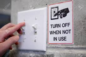 Turn Off Lights Stickers Free Woman Preparing To Turn Off Light Switch By Saving Power Concept