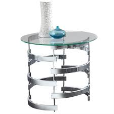 steve silver tayside round glass top end table