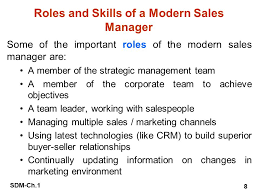 Roles Of A Sales And Marketing Manager Sdm Ch 1 1 Chapter 1 Introduction To Sales And Distribution
