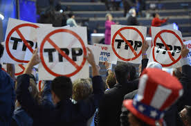 Delegates show their opposition to the Trans Pacific Partnership deal during Day   of the The Japan Times