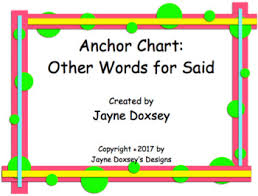 Anchor Chart Freebie Other Words For Said By Jayne Doxseys