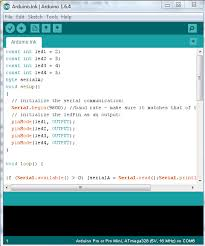 screenshot of arduino code used for initialization of mobile controlled home automation system